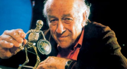 Harryhausen with skeleton maquette.