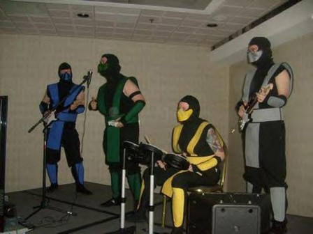 Sub-Zero, Reptile, Scorpion and Smoke rocking out.