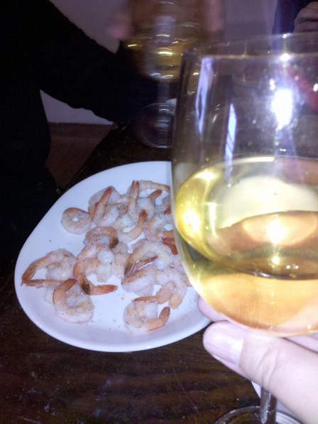 Shrimp! And white wine!