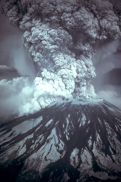 Mount St. Helens goes up.